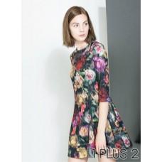 Dress - 大花朵印花修身连衣裙