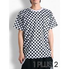 Black and white plaid T-shirt-嘻哈街舞BBOY黑白格子短袖T恤