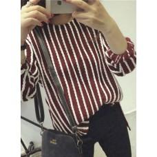 Round neck sweater - 复古甜美乖巧百搭显瘦竖条纹长袖圆领针织衫
