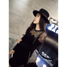 Lace Dress - 欧美简约镂空蕾丝网纱拼接长袖针织包臀连衣裙
