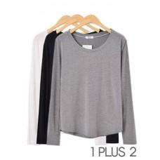 Long-sleeved T-shirt - 垂感圆领小宽松长袖T恤