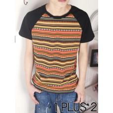 Striped T-shirt - 风条纹拼袖插肩袖T恤
