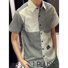 Patchwork stripe shirt - 条纹拼布个性短袖衬衫