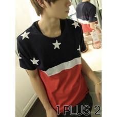 Stars Stripes T-shirt - 星星条纹间色拼布TEE