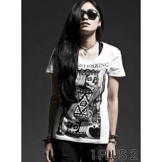 Black Soul Rock Couple T-shirt - 黑魂摇滚情侣装个性短袖T