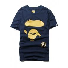Short-sleeved T-shirt - APE烫金猿人头短袖T恤