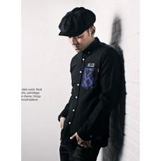 Long-sleeved shirt - MLGB精工迷彩拼布个性长袖衬衫
