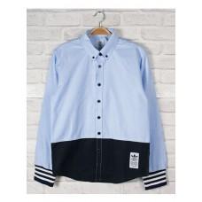 Long-sleeved Shirt - 拼布撞色精工全棉长袖衬衫