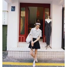 Striped T shirt - 学院风气质条纹短款T恤