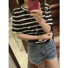 Striped T-shirt - 三色棉质条纹短袖女T恤