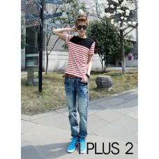 Striped Patchwork T-shirt - 条纹拼布撞色短袖T恤