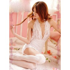 Lace Hang Neck Halter (with white socking)