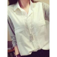 Stitching Knitted Cotton Shirt  - 宽松个性针织灰白拼接蝙蝠长袖大口袋翻领衬衫